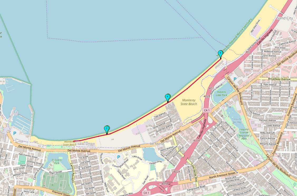 5K Beach Run Course Map