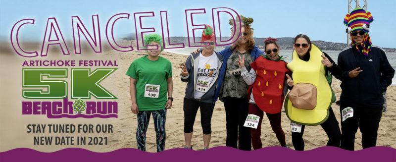 Artichoke Festival 5K Beach Run Cancelled banner