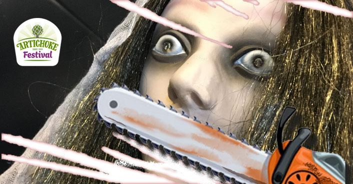Artichoke Festival Haunted House chainsaw woman banner