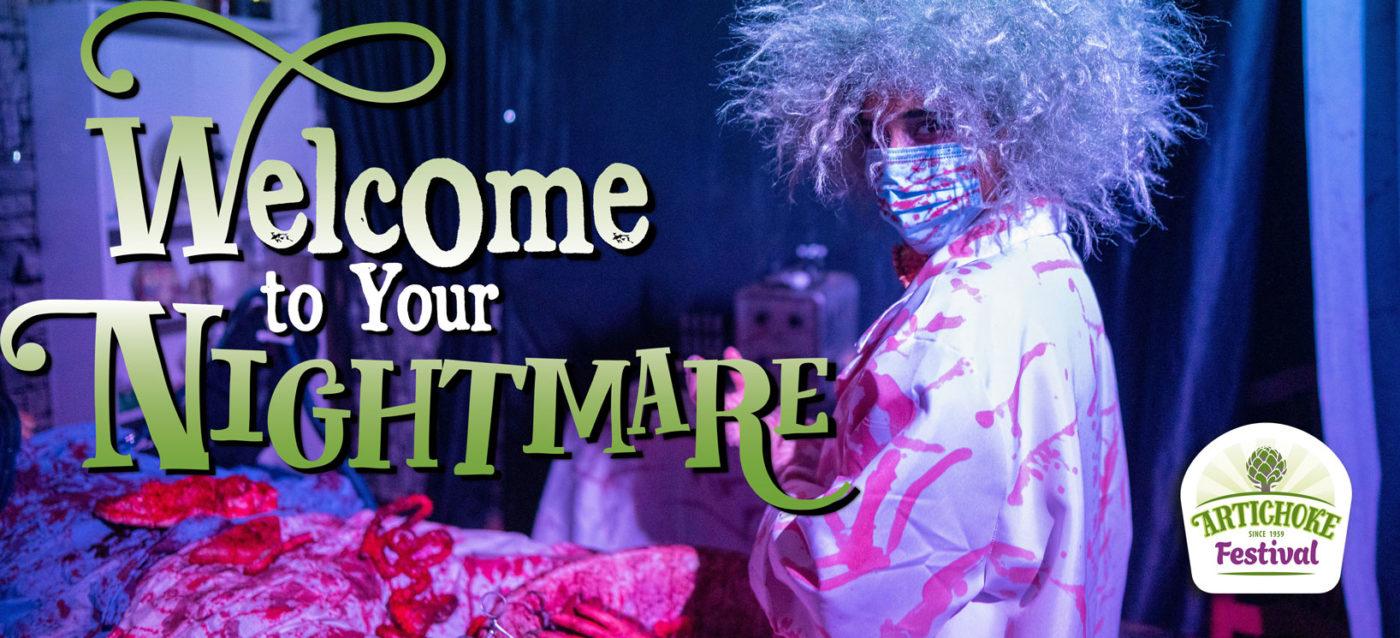 Artichoke Festival Haunted House mad doctor banner