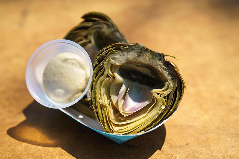 Artichokes served with garlic aioli