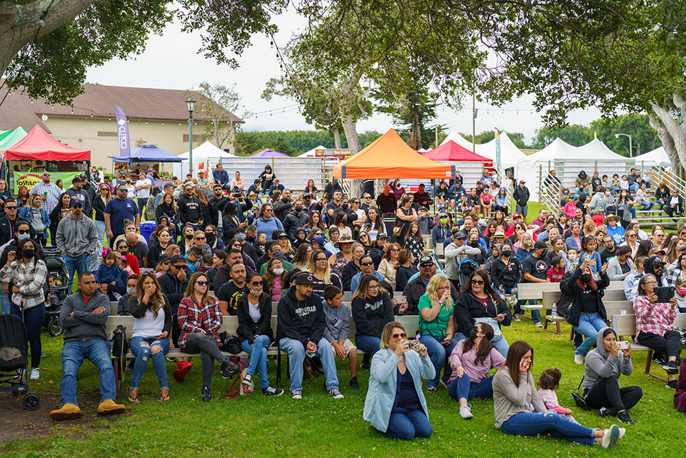 Artichoke Festival attendees watching the entertainment at the Main Stage