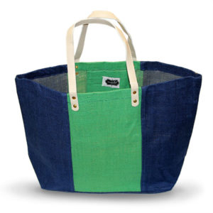 Navy/Green Burlap Tote Bag - Accessories