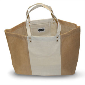 Tan/Cream Burlap Tote Bag - Accessories