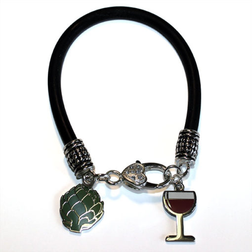 Bracelet with Artichoke and Wine Glass Charms - Accessories