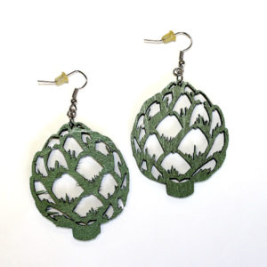 Laser-cut Wooden Artichoke Earrings - Accessories